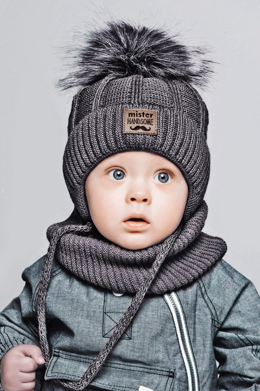 Теплый детский комплект для мальчика 1-2-3-4 года: шапка на флисе + вязаный шарф - хомут, темно-серый графит