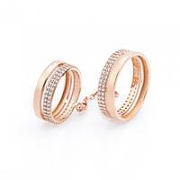 Золотое кольцо на две фаланги с фианитами гк05510