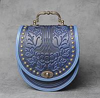 """Эксклюзивная кожаная синяя сумка ручной работы с кованой ручкой, орнамент """"Калина"""""""