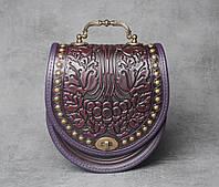 """Эксклюзивная кожаная сумка ручной работы с кованой ручкой, орнамент """"Калина"""", сумка фиолетовая с черным"""