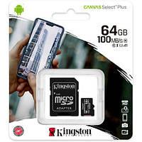 Карта пам'яті Kingston MicroSDXC 64GB UHS-I A1 (Cl10)+SD adapter SDCS2/64GB