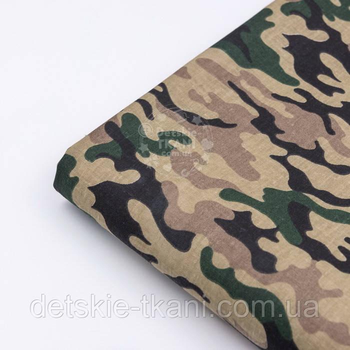 """Клапоть тканини з камуфлированным малюнком """"Military"""" коричнево-зелена, №3089а, розмір 37*80 см"""