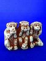 Фигурка гипсовая Три обезьяны в ряд