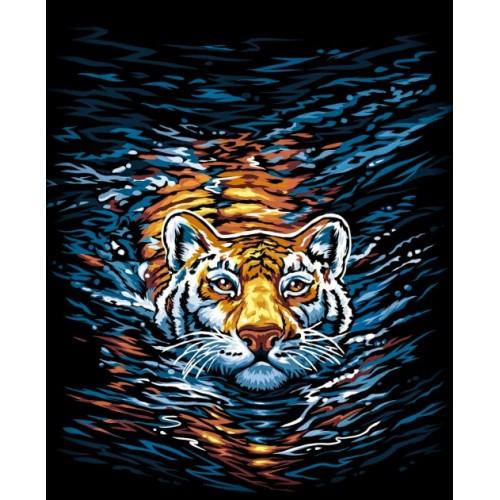 Картина по номерам 40см * 40см эконом № 3 Тигр PAINTING BY NUMBER с фарб.ДТ (1/10)