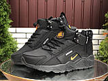 🔥 Кроссовки ботинки мужские зимние Nike Huarache черные кожаные кожа нубук теплые на меху меховые, фото 4