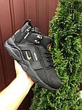 🔥 Кроссовки ботинки мужские зимние Nike Huarache черные кожаные кожа нубук теплые на меху меховые, фото 2