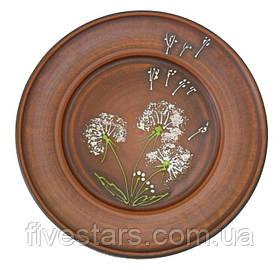 Тарелка глиняная  Зеленый Одуванчик 250 мм