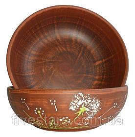 Миска глиняная для первых блюд  Зеленый Одуванчик 700 мл