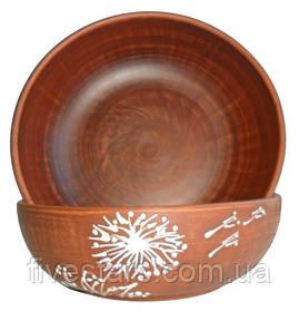 Миска глиняная для первых блюд  Белый Одуванчик 700 мл