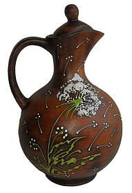 Кувшин винный глиняный  Зеленый Одуванчик 2 л