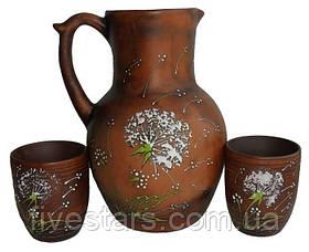Набор для напитков кувшин 2 стакана глиняный  Зеленый Одуванчик 2 л