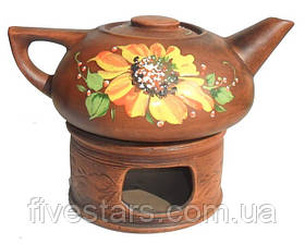 Чайник заварной на камине глиняный  Подсолнух 0,7 л