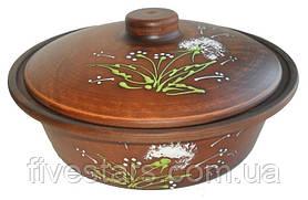 Сковорода жаровня глиняная  Зеленый одуванчик 1,2 л
