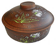 Сковорода №1 глиняная Зеленый одуванчик 3 л