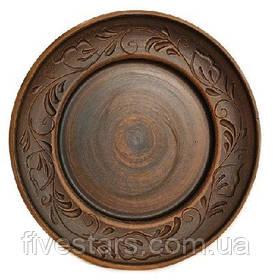Глиняная тарелка   декор вьюнок 250 мм