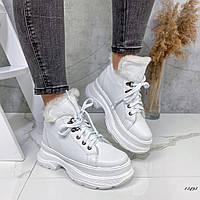 Ботинки женские кожаные на меху белые, фото 1