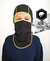 Балаклава для мальчиков и девочек Черная универсальная ветрозащитная с удлиненной шеей Подшлемник детский