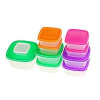 Набор пластиковых контейнеров для хранения продуктов с крышкой - 10 шт.