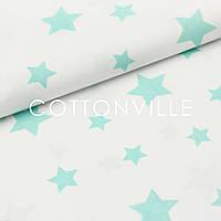 Бязь Звездочки светло-бирюзовые на белом, фото 1