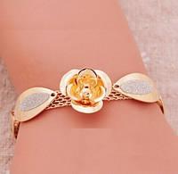 Шикарный позолоченный браслет цветок, фото 1