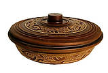 Сковорода-жаровня глиняная  Ангоб 1,2 л, фото 2