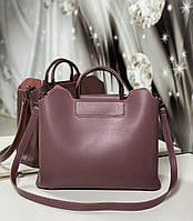 Женская сумка формат А4 модная городская сумочка офисная стильная темная пудра экокожа, фото 1