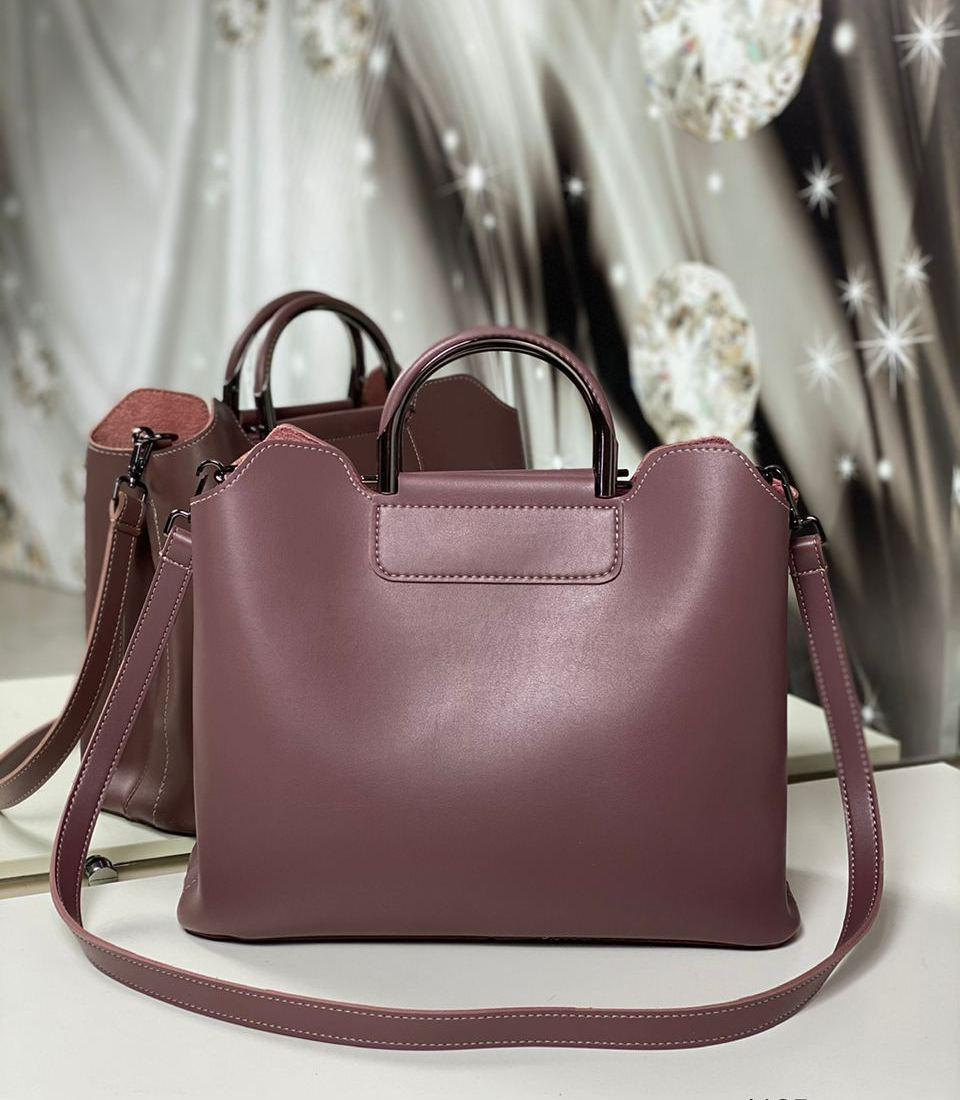 Женская сумка формат А4 модная городская сумочка офисная стильная темная пудра экокожа