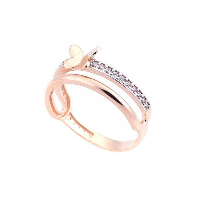 Золотое кольцо с бабочкой (фианиты) гк05210