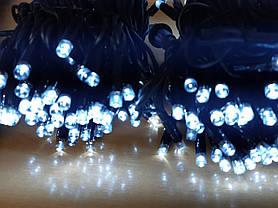 Новогодняя гирлянда нитка белого холодного свечения Xmas 200 LED ламп (черный провод 15 метров), фото 3
