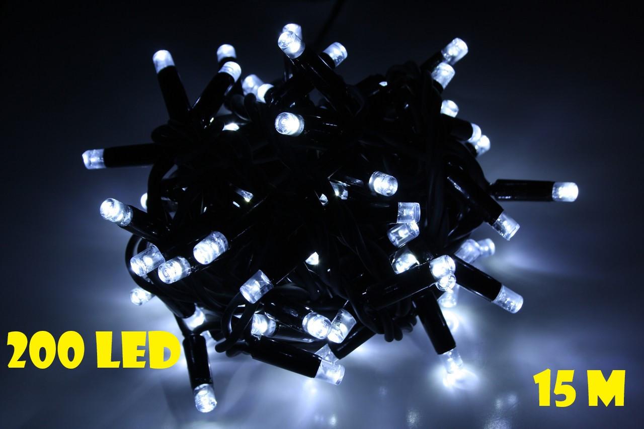 Новогодняя гирлянда нитка белого холодного свечения Xmas 200 LED ламп (черный провод 15 метров)