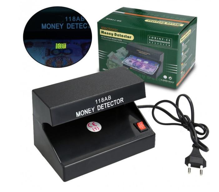 Ультрафіолетовий Детектор валют AD-118AB Чорний апарат для розпізнання підробок