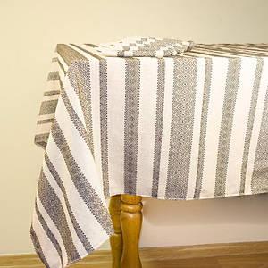 Льняная скатерть вышитая + 6 салфеток, 120х145 см