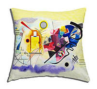 Подушка декоративная с принтом абстрактной работы Кандинского: Yellow Red Blue, 40x40 см