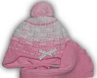 Комплект шапка+шарф на флисе для девочки 6-18 мес. (р.40-44)