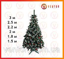 Ель искусственная Рождественская Элитная от 1,5 м до 3м, калина красная с шишками
