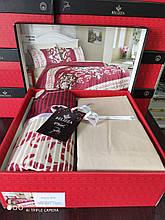 Комплект постельного белья из фланели евро размер ТМ Belizza Katarina bordo