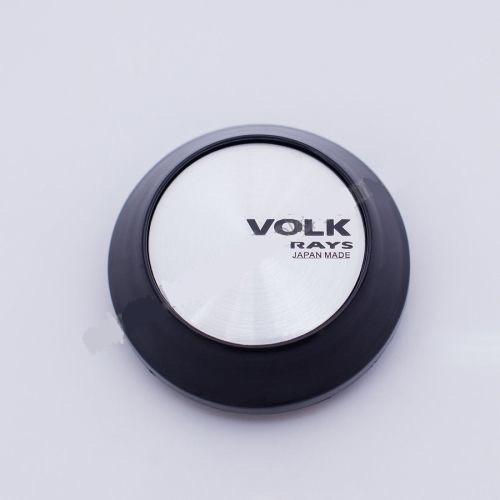 Колпачок для диска    VOLK RACING конус/черный/серебристый лого (62-68 мм)
