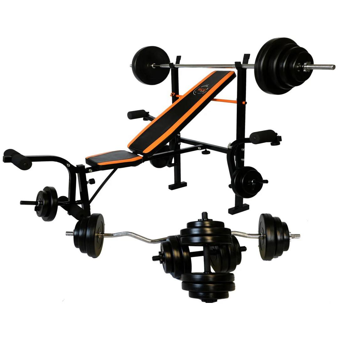 Лава для жиму WCG 0055 + Штанга і гантелі 128 кг