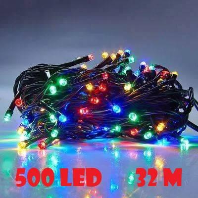 Новогодняя гирлянда нитка Xmas 500 LED ламп МУЛЬТИКОЛОР (черный провод 32 метров), фото 2