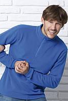 Мужской флисовый пуловер с короткой застежкой-молнией