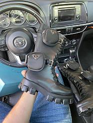 Черевики чоботи жіночі демісезонні Prada Monolith High (Чорний) Прада Моноліт