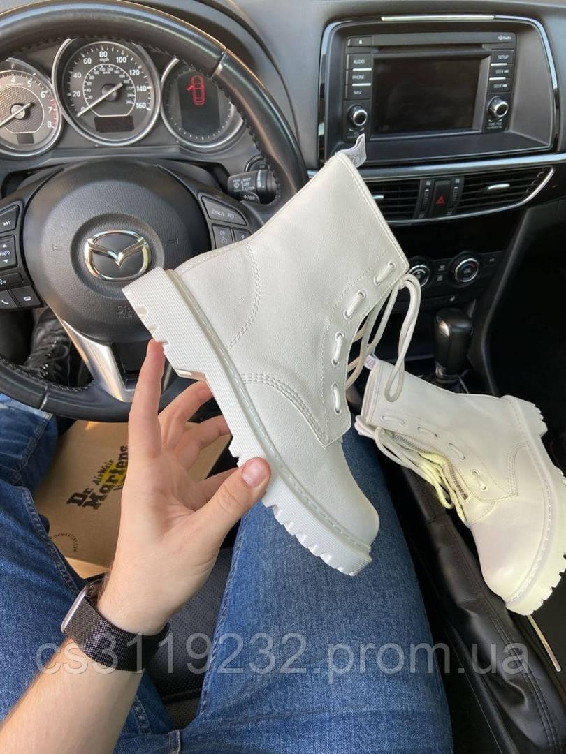 Ботинки женские демисезонные Dr Martens 1460 Mono White Lux (Белый) Доктор Мартинс