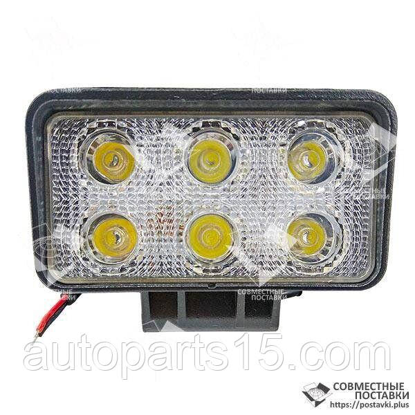 Фара LED прямоуг. 36W (6*3W), 100*75*85, широкий луч 12/24V 6000К (Руслан-Комплект) ФР-100-09