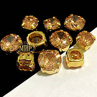 Фианиты в золотых цапах 10mm Golden Shadow