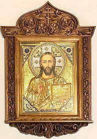 Ікона Спасителя в ризі різьбленому кіоті №2 (40х58)