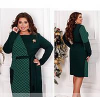 / Размер 50-52,54-56 / Женское нарядное платье большого размера / 2003Б-Зеленый-Изумрудный