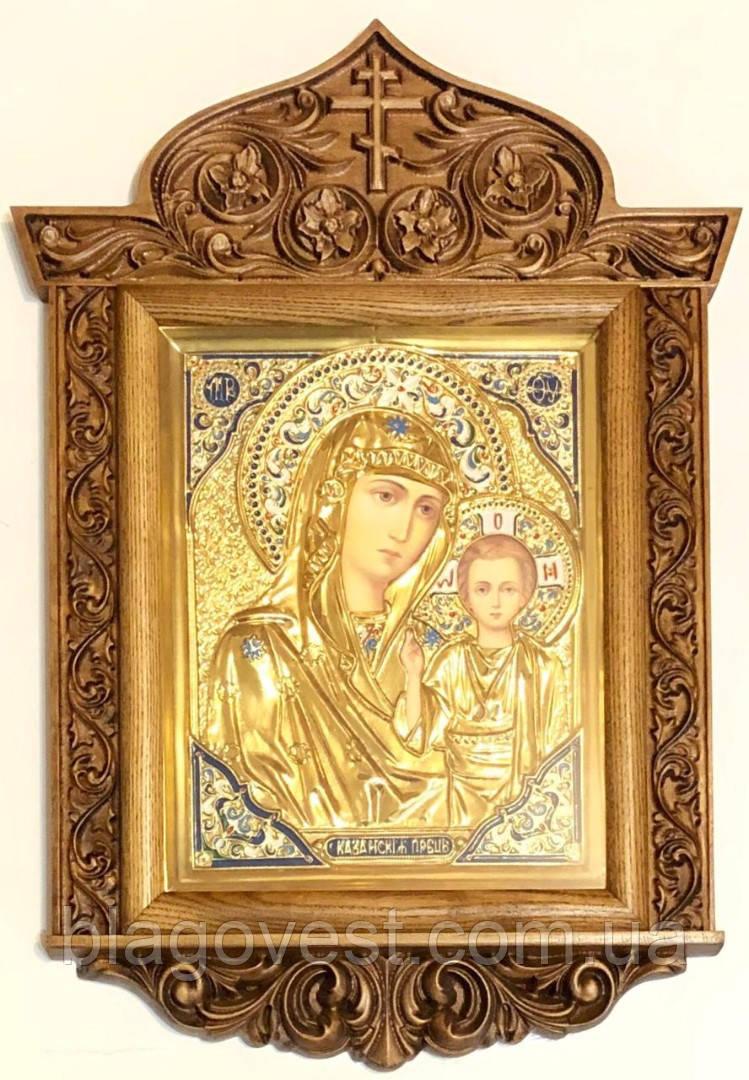 Икона Казанская М.Б. в ризе резном киоте №2 (40х58)