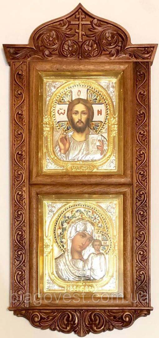 Ікона подвійна Спаситель і Богородиця в різьбленому кіоті риза (35х76)
