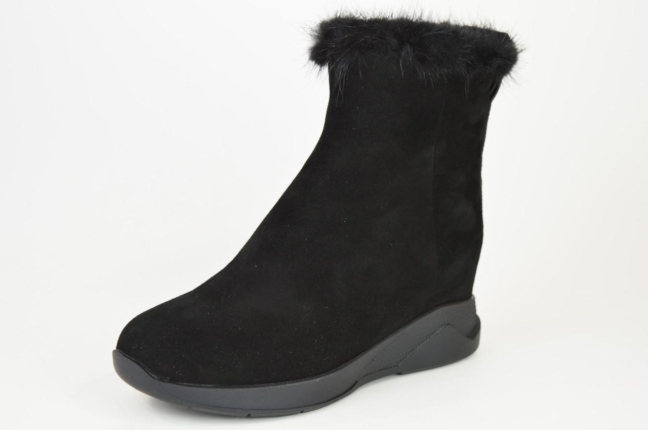 Ботинки норка цигейка Sufinna 335011 черные замша 40