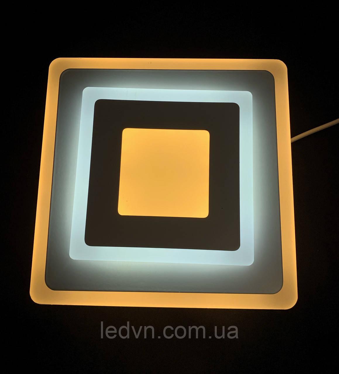 Светодиодный потолочный светильник квадрат 18 ватт